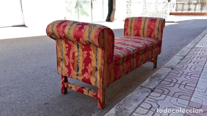 Antigüedades: Banqueta descalzadora antigua vintage estilo chester. Chaise longue sofá antiguo estilo chesterfield - Foto 10 - 155101574