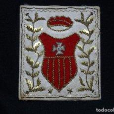 Antigüedades: ESCAPULARIO ESCUDO ORDEN DE LAMERCED, MERCEDARIOS, BORDSO HILO ORO. Lote 155107510