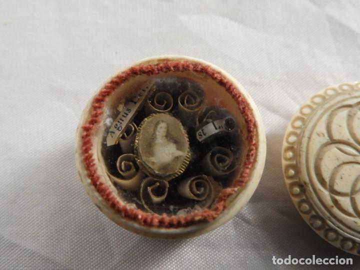 Antigüedades: RELICARIO ANTIGUO EN MARFIL DE SANTA LUISA DE MARILLAC - Foto 3 - 155118702