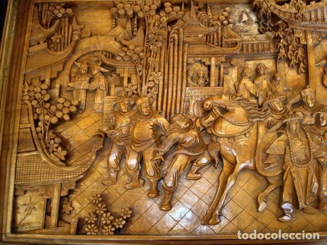 Antigüedades: Arcon baul chino antiguo tallado, en madera de alcanfor - Foto 8 - 155126642