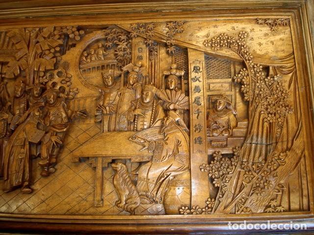 Antigüedades: Arcon baul chino antiguo tallado, en madera de alcanfor - Foto 9 - 155126642