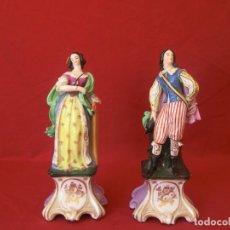 Antigüedades: PAREJA DE FIGURAS CERÁMICA.. Lote 155147626