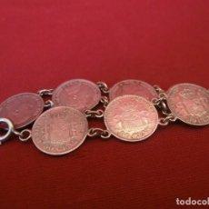 Antigüedades: PULSERA DE PLATA CON MONEDAS.. Lote 155151550