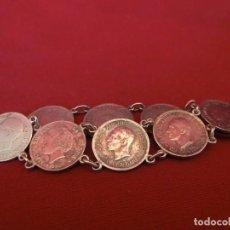 Antigüedades: PULSERA DE PLATA CON MONEDAS.. Lote 155151774
