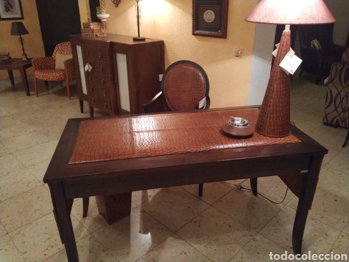 DESPACHO CUERO (Antigüedades - Muebles Antiguos - Mesas de Despacho Antiguos)