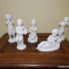 Antigüedades: BIDASOA, QUERUBINES MUSICOS, 5 CONTINENTES, BISCUIT.. Lote 155193110