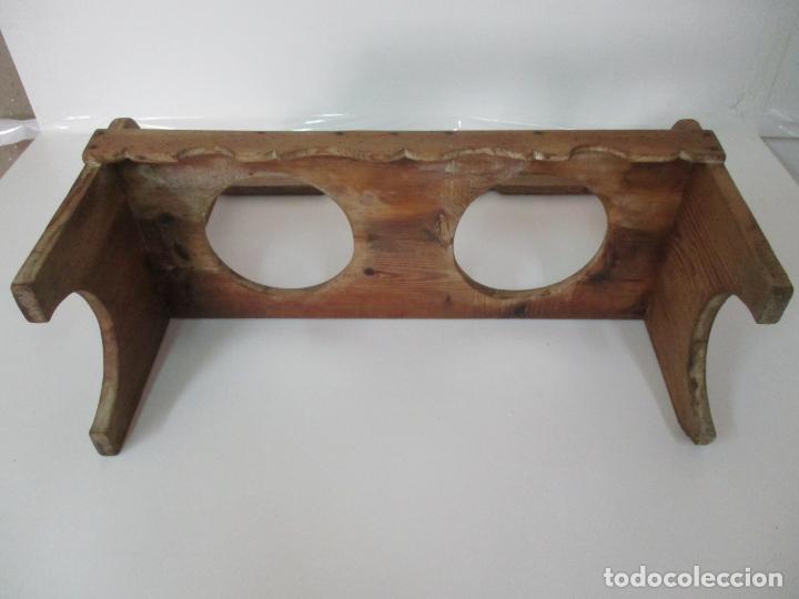 Antigüedades: Antigua Tinaja, Jarra - Cerámica Catalana - con Soporte, Estantería de Madera de Pino - S. XIX - Foto 7 - 155205902