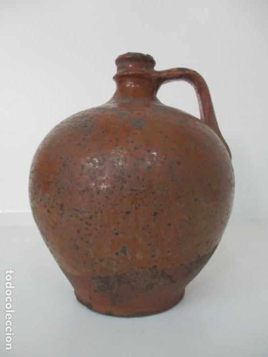 Antigüedades: Antigua Tinaja, Jarra - Cerámica Catalana - con Soporte, Estantería de Madera de Pino - S. XIX - Foto 18 - 155205902