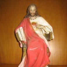 Antigüedades: ANTIGUA FIGURA RELIGIOSA. SAGRADO CORAZON EN PASTA MADERA. Lote 155212306