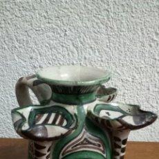 Antigüedades: CANDELA DE CERAMICA/FIRMADA DOMINGO PUNTER /TERUEL. Lote 155218226