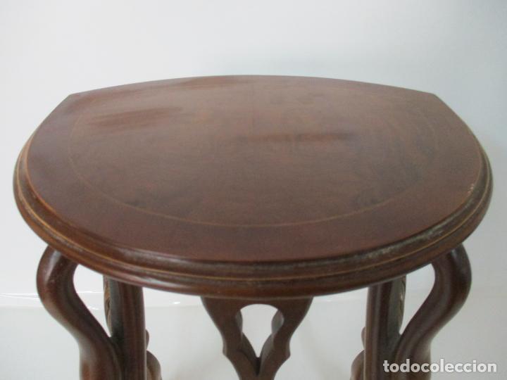 Antigüedades: Juego de Mesas Nido - 3 Mesitas, Estilo Imperio - 1/2 Luna - Patas en Forma de Cisne - Foto 9 - 155239410