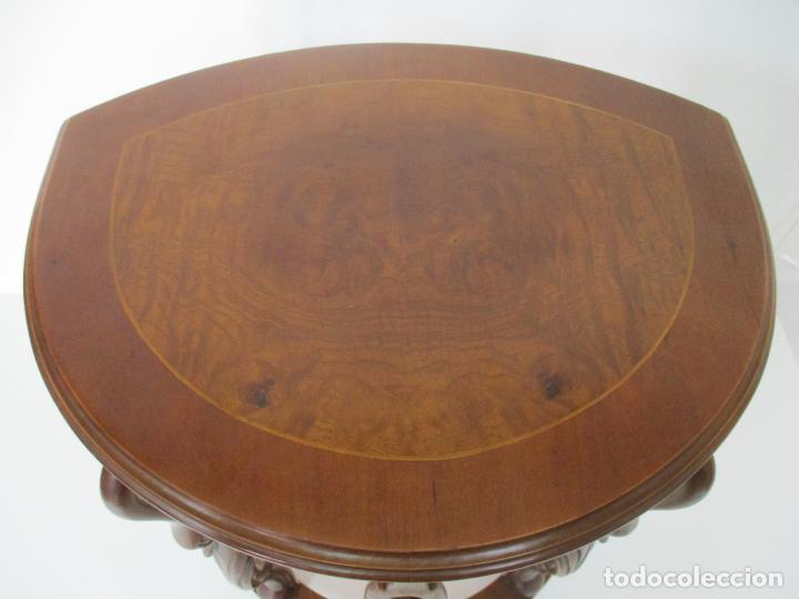 Antigüedades: Juego de Mesas Nido - 3 Mesitas, Estilo Imperio - 1/2 Luna - Patas en Forma de Cisne - Foto 16 - 155239410