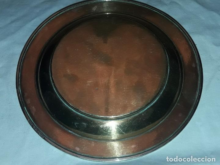 Antiques: Precioso plato de bronce con águila de alpaca e incrustaciones de malaquita Taxco México - Foto 4 - 155242234