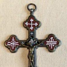 Antigüedades - Antigua y artística Cruz de micro mosaico (cristal pequeño tamaño), italiana siglo XIX. - 155253398
