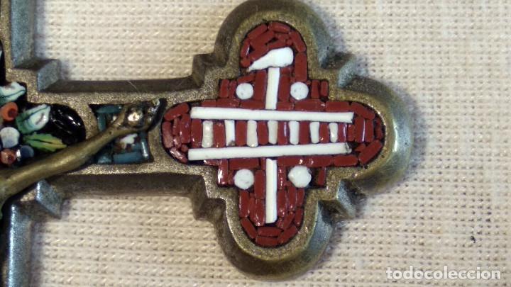 Antigüedades: Antigua y artística Cruz de micro mosaico (cristal pequeño tamaño), italiana siglo XIX. - Foto 6 - 155253398