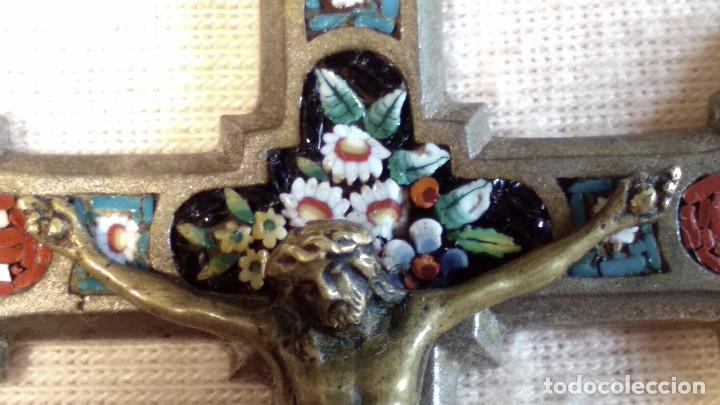 Antigüedades: Antigua y artística Cruz de micro mosaico (cristal pequeño tamaño), italiana siglo XIX. - Foto 7 - 155253398