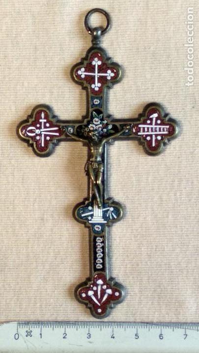 Antigüedades: Antigua y artística Cruz de micro mosaico (cristal pequeño tamaño), italiana siglo XIX. - Foto 14 - 155253398