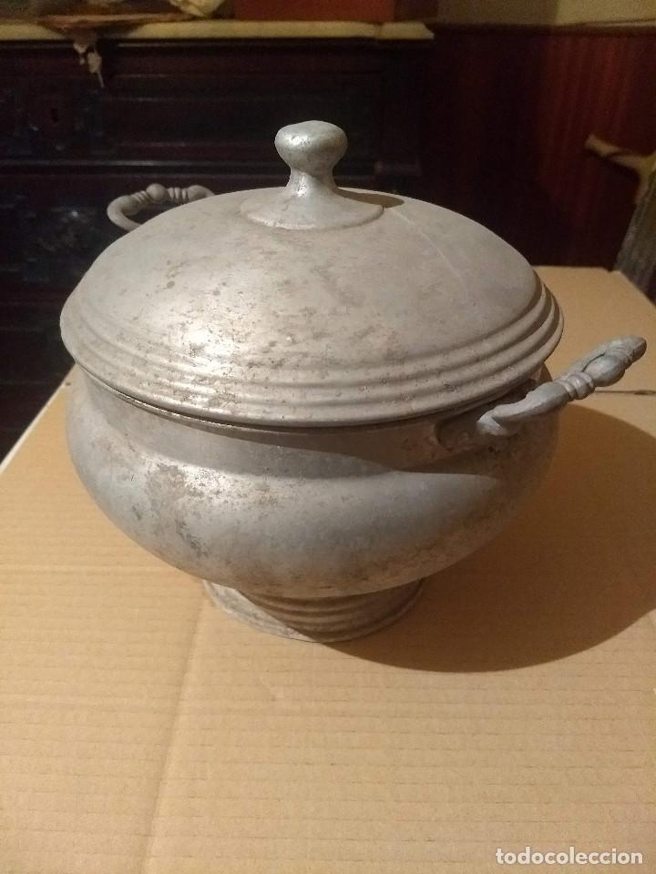 Antigüedades: Antigua sopera de aluminio - Foto 11 - 155298454