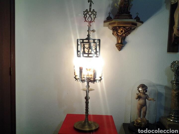 LAMPARA ANTIGUA EN BRONCE (Antigüedades - Iluminación - Lámparas Antiguas)