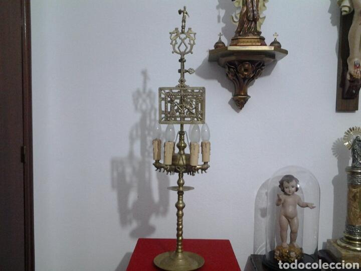 Antigüedades: Lampara antigua en bronce - Foto 2 - 155298809