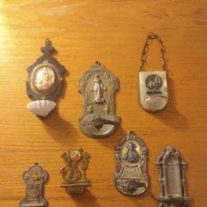 Antigüedades: ESPECTACULAR LOTE DE 7 PEQUEÑOS AGUABENDITEROS . MUY ANTIGUOS Y PECULIARES. MEDIDAS ENTRE 18 Y 9 CMS. Lote 155299252