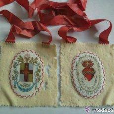 Antigüedades: MUY ANTIGUO ESCAPULARIO DEL SAGRADO CORAZON DE JESUS, APOSTOLADO DE LA ORACION.. Lote 155310442