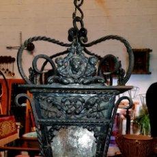 Antigüedades: MUY BONITO FAROL ANTIGUO EN HIERRO DE FORJA Y CHAPA RECORTADA. Lote 155315074