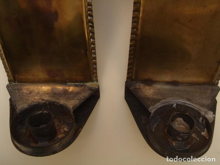 Antigüedades: Pareja de Apliques Pared de Velas o Portavelas, de laton, Antiguos - Foto 3 - 155342702