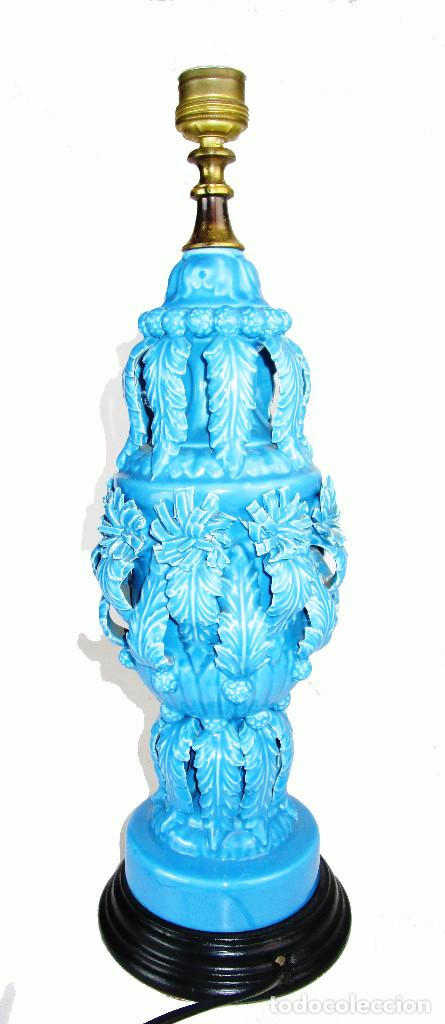 Antigüedades: PRECIOSA LAMPARA CERAMICA MANISES AZUL ANTIGUA VINTAGE - Foto 5 - 155344586