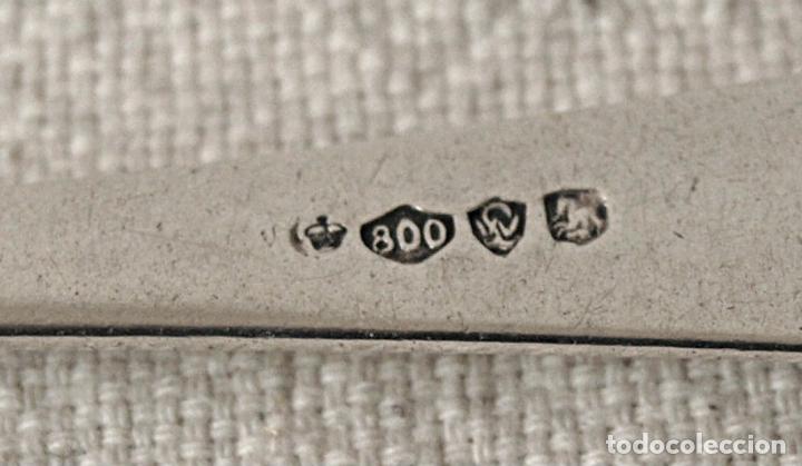 Antigüedades: CUBIERTOS, JUEGO DE 5 CUCHARAS DE PLATA DE LEY 800 CONTRASTADA. 246 GRAMOS. VER FOTOS Y DESCRIPCION - Foto 13 - 155400342