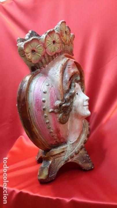 Antigüedades: JARRON. TERRACOTA POLICROMADA. FRMA Y AÑO - Foto 6 - 155416494