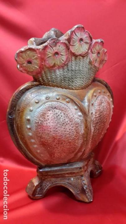 Antigüedades: JARRON. TERRACOTA POLICROMADA. FRMA Y AÑO - Foto 9 - 155416494