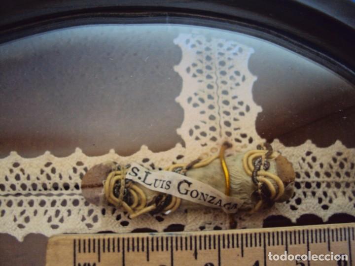 Antigüedades: (ANT-190347)RELICARIO GRANDES DIMENSIONES S.LUIS GONZAGA - MADERA Y CRISTAL OVALADO - Foto 7 - 155467994