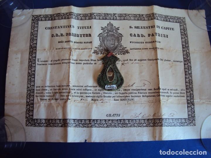 (ANT-190351)RELICARIO Y CERTIFICADO DE S.SILVESTRE AÑO 1844 (Antigüedades - Religiosas - Relicarios y Custodias)