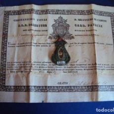 Antigüedades: (ANT-190351)RELICARIO Y CERTIFICADO DE S.SILVESTRE AÑO 1844. Lote 155468434