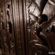 Antigüedades - CONJUNTO DESPACHO TALLADO ESTILO RENACIMIENTO ESPAÑOL - 155512026