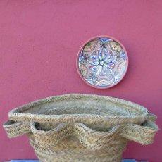 Antigüedades: LEÑERO, GRAN CESTO DE ESPARTO,. Lote 155520818