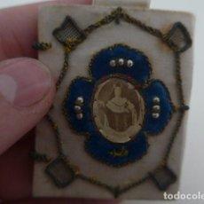 Antigüedades: ANTIGUO ESCAPULARIO RELIGIOSO TIPO RELICARIO DE SANTA TERESA DE JESUS, 1883, SIGLO XIX, ORIGINAL.. Lote 155522130