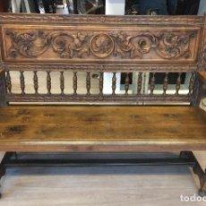Antigüedades: BANCO DE NOGAL TALLADO. Lote 155540266