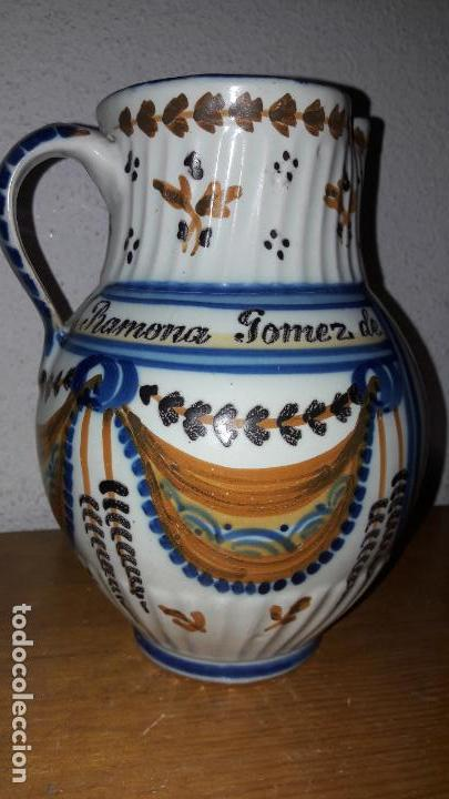 Antigüedades: Jarra Talavera Virgen del Prado Ramona Gómez de Zamora 1872 - Foto 2 - 155558058