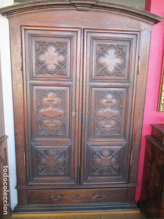Antigüedades: Armario Empotrado - Barroco Catalán - Madera de Nogal - Puertas con Marquetería en 2 Caras -S. XVIII - Foto 10 - 155594662