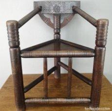 Antigüedades: ANTIGUA SILLA WARWICK DE ROBLE COPIA VICTORIANA DE ANTIGUA SILLA MEDIEVAL INGLATERRA FINALES S XIX. Lote 155603354