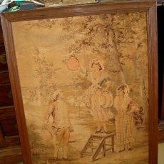 Antigüedades: TAPIZ ANTIGUO, COLGANDO FAROLILLOS . Lote 155609326