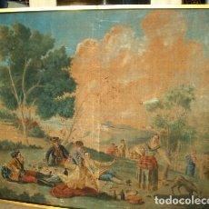 Antigüedades: TAPIZ PINTADO ANTIGUO, ES UNA COPIA DE GOYA, LA MERIENDA A ORILLAS DEL MANZANARES. Lote 155610442