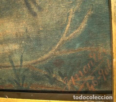 Antigüedades: Tapiz pintado antiguo, es una copia de Goya, La merienda a orillas del Manzanares - Foto 2 - 155610442
