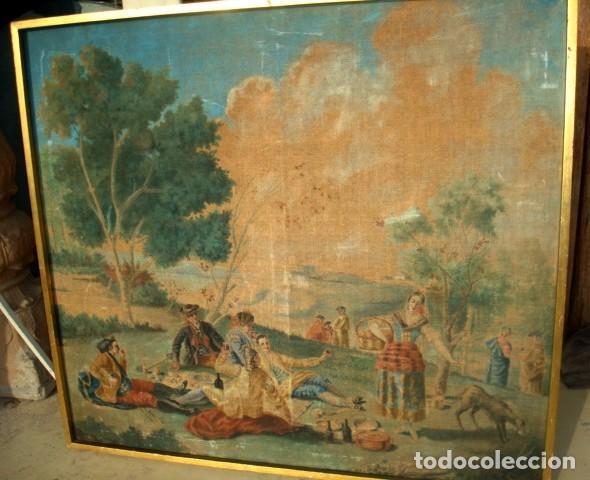 Antigüedades: Tapiz pintado antiguo, es una copia de Goya, La merienda a orillas del Manzanares - Foto 3 - 155610442