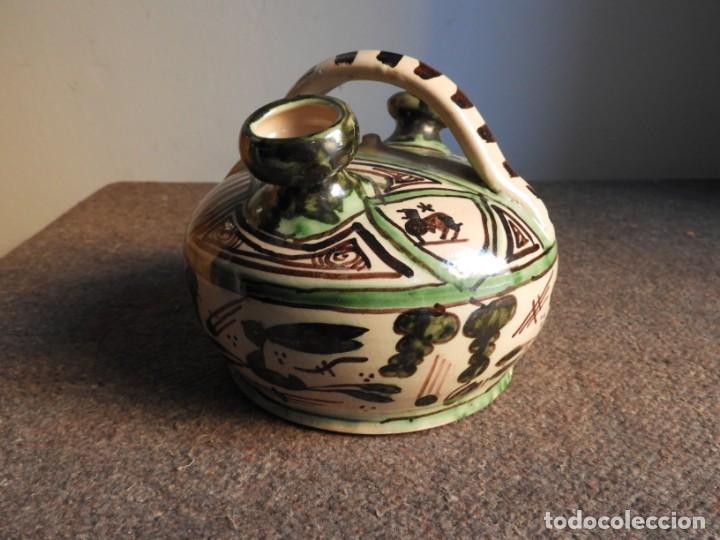 Antigüedades: BOTIJO DE CERAMICA VIDRIADA DE TERUEL FIRMADO PUNTER - Foto 4 - 155610498