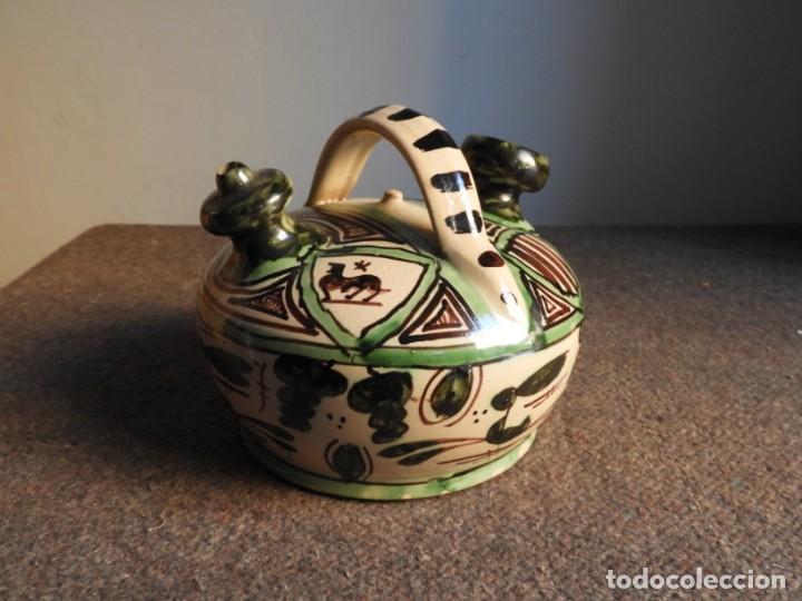 Antigüedades: BOTIJO DE CERAMICA VIDRIADA DE TERUEL FIRMADO PUNTER - Foto 6 - 155610498