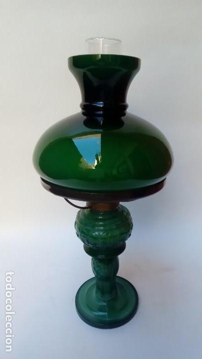 QUINQUE OPALINA- (Antigüedades - Iluminación - Quinqués Antiguos)