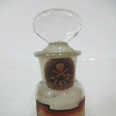 Antigüedades: ANTIGUO BOTE DE CRISTAL DE FARMACIA - FRASCO, BOTE VENENO - PAPEL LITOGRAFIADO - FINALES S. XIX. Lote 155628314
